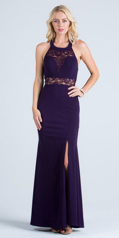 La Scala 24826 See Through Waist Long Eggplant Dress Halter Side Slit