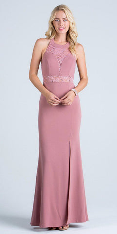 La Scala 24826 See Through Waist Long Mauve Dress Halter Side Slit