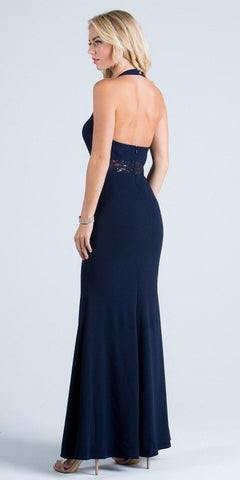 La Scala 24826 See Through Waist Long Navy Blue Dress Halter Side Slit Back View