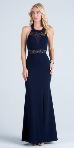 La Scala 24826 See Through Waist Long Navy Blue Dress Halter Side Slit