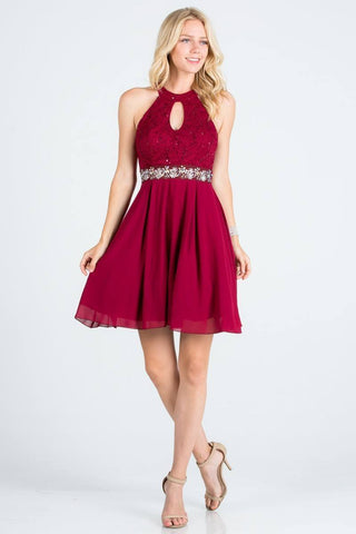 La Scala 24827 Center Keyhole Crop Neck Fit and Flare Lace Dress Burgundy
