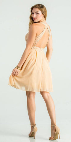 La Scala 24827 Center Keyhole Crop Neck Fit and Flare Lace Dress Gold Back View