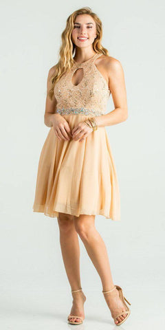 La Scala 24827 Center Keyhole Crop Neck Fit and Flare Lace Dress Gold