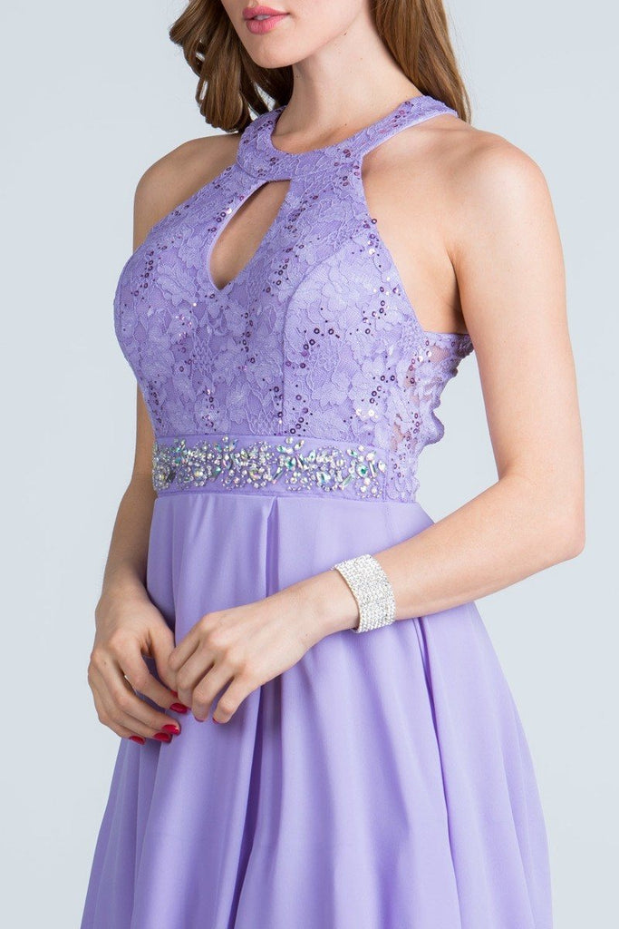 La Scala 24827 Center Keyhole Crop Neck Fit and Flare Lace Dress Lilac Zoom
