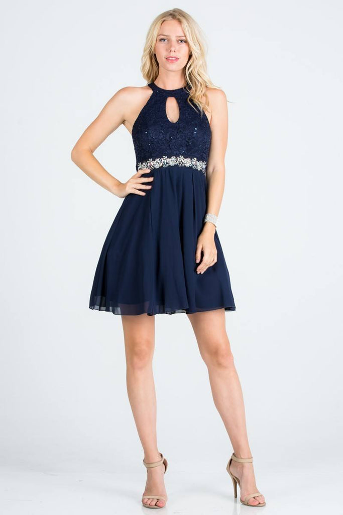 La Scala 24827 Center Keyhole Crop Neck Fit and Flare Lace Dress Navy Blue