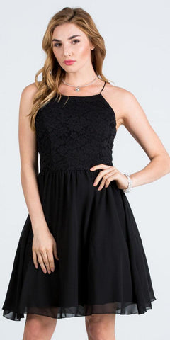 Lace Top Short Party Dress with Spaghetti Strap Black