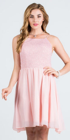 Lace Top Short Party Dress with Spaghetti Strap Blush