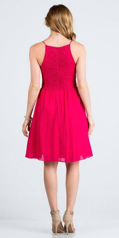 Lace Top Short Party Dress with Spaghetti Strap Fuchsia