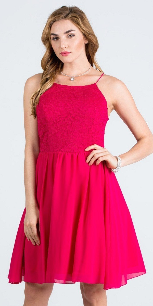 283eac382c1 La Scala 24874 Lace Top Short Party Dress with Spaghetti Strap Black ...