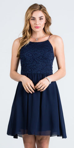 Lace Top Short Party Dress with Spaghetti Strap Navy Blue