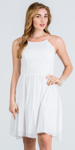 Lace Top Short Party Dress with Spaghetti Strap Off White