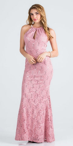 Blush Pearl Embellished Long Formal Dress with Keyhole