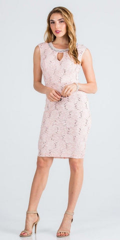 Beaded Neck Blush Lace Wedding Guest Dress with Keyhole