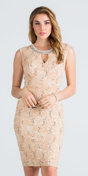 Beaded Neck Taupe Lace Wedding Guest Dress with Keyhole