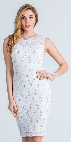 Off White Sleeveless Short Bodycon Party Dress