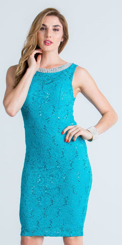 Turquoise Sleeveless Short Bodycon Party Dress