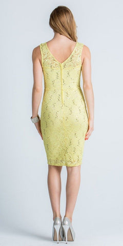 Yellow Sleeveless Short Bodycon Party Dress