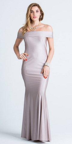 Off Shoulder Mermaid Long Formal Dress Blush