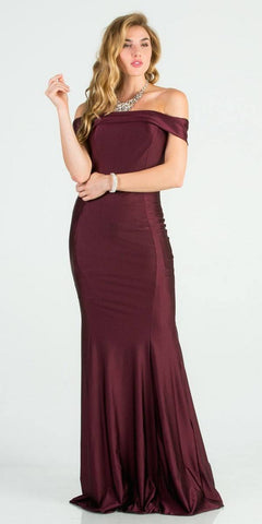 Off Shoulder Mermaid Long Formal Dress Dark Burgundy