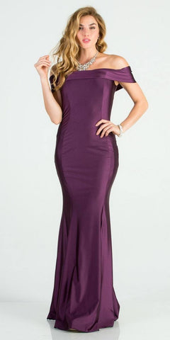 Off Shoulder Mermaid Long Formal Dress Eggplant