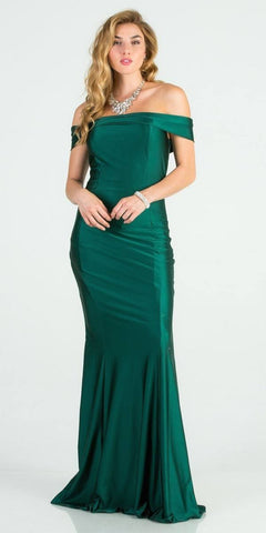 Off Shoulder Mermaid Long Formal Dress Hunter Green