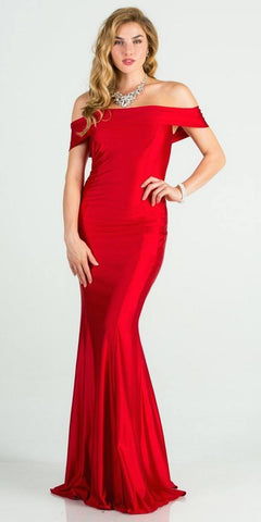 Off Shoulder Mermaid Long Formal Dress Red