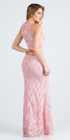 Blush Long Prom Dress with Embellished Cut-Out Neckline