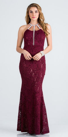 Burgundy Long Prom Dress with Embellished Cut-Out Neckline