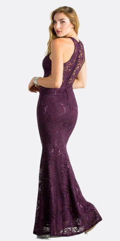 Eggplant Long Prom Dress with Embellished Cut-Out Neckline