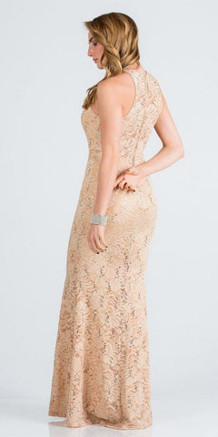 Gold Long Prom Dress with Embellished Cut-Out Neckline