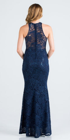 Navy Blue Long Prom Dress with Embellished Cut-Out Neckline