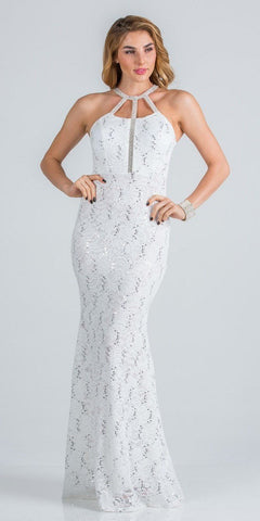 Off White Long Prom Dress with Embellished Cut-Out Neckline