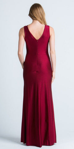 Burgundy Long Formal Dress with Illusion Beaded Neckline