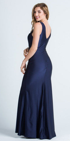 Navy Blue Long Formal Dress with Illusion Beaded Neckline