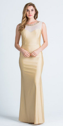 Toffee Long Formal Dress with Illusion Beaded Neckline