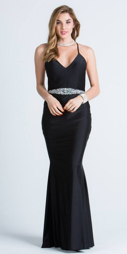 V-Neck Long Formal Dress Embellished Waist Black