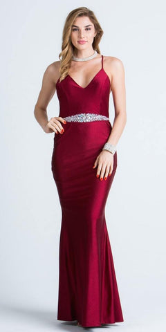 V-Neck Long Formal Dress Embellished Waist Burgundy