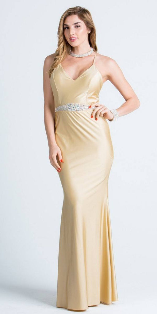 V-Neck Long Formal Dress Embellished Waist Toffee