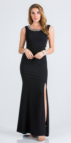 Black Embellished Mermaid Long Prom Dress with Side Cut-Outs