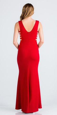 Red Embellished Mermaid Long Prom Dress with Side Cut-Outs