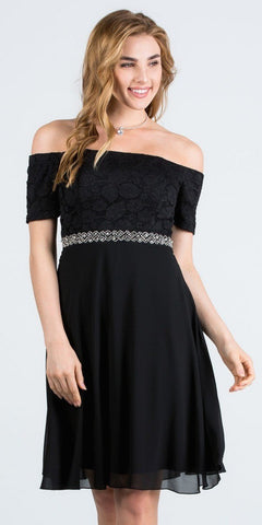 Off-Shoulder Wedding Guest Dress Embellished Waist Black