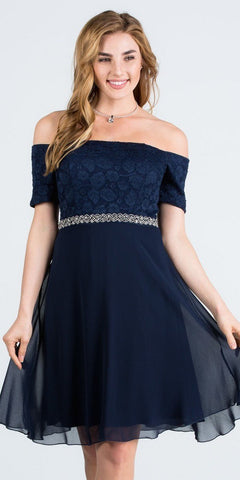 Off-Shoulder Wedding Guest Dress Embellished Waist Navy Blue