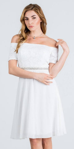Off-Shoulder Wedding Guest Dress Embellished Waist Off White