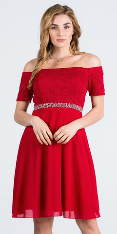 Off-Shoulder Wedding Guest Dress Embellished Waist Red