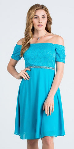 Off-Shoulder Wedding Guest Dress Embellished Waist Turquoise