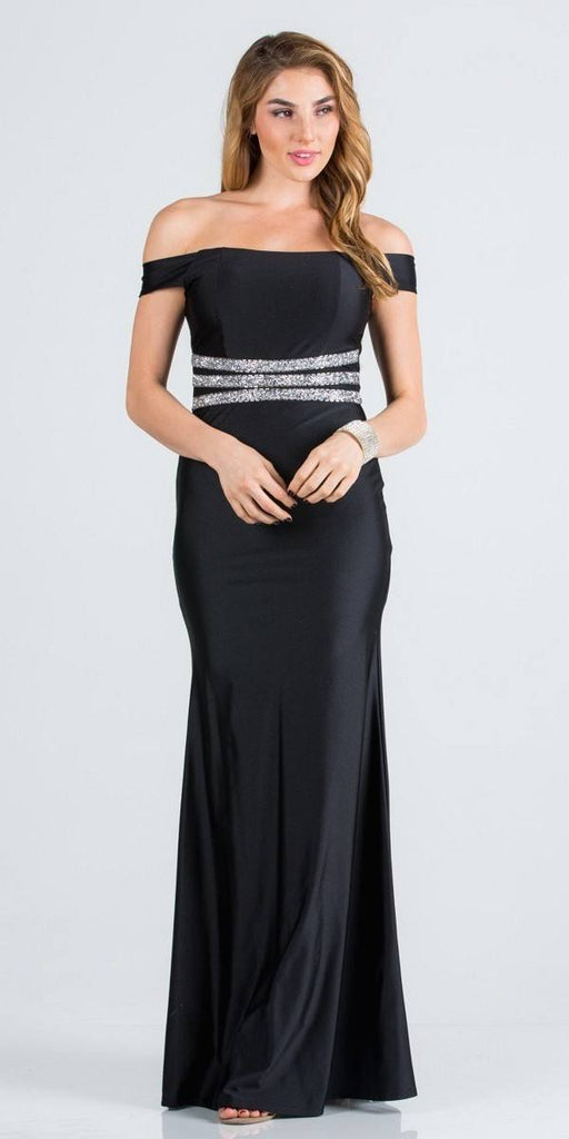 Embellished Waist Off Shoulder Long Formal Dress Black
