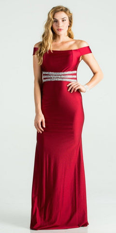 Embellished Waist Off Shoulder Long Formal Dress Burgundy