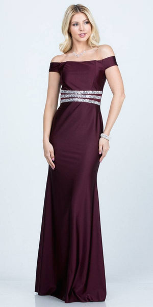 Embellished Waist Off Shoulder Long Formal Dress Dark Burgundy