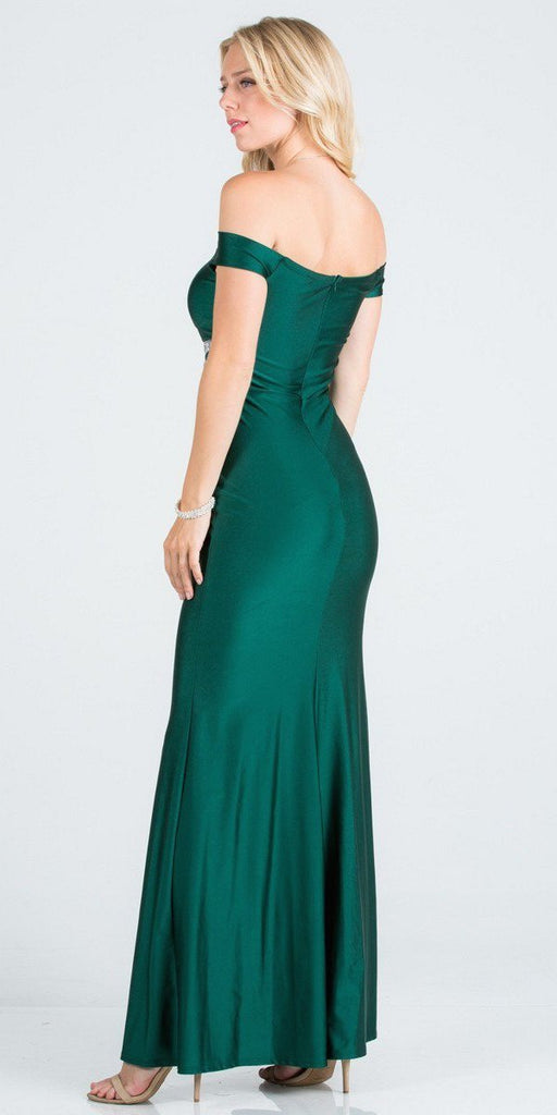 Embellished Waist Off Shoulder Long Formal Dress Hunter Green