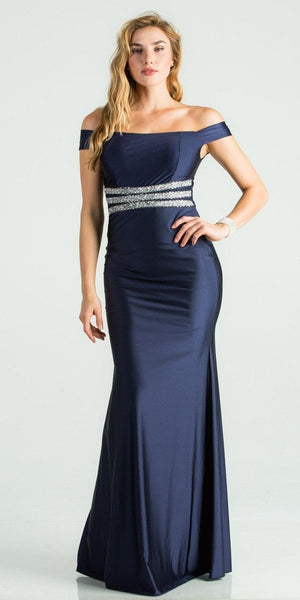 Embellished Waist Off Shoulder Long Formal Dress Navy Blue